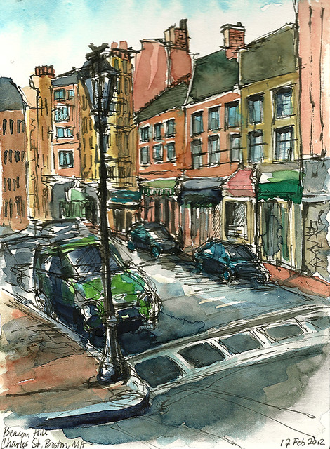 View of Charles Street, Beacon Hill, Boston, MA