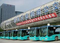 中國深圳的Byd電動車。深圳政府計畫在未來五年內將所有公共運輸車 輛改為電動車。(Byd提供)