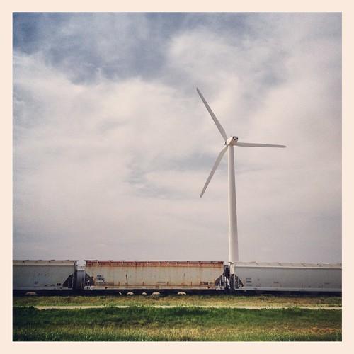 railroad west train landscape energy texas wind farm windmills