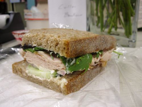 Deli turkey with cucumber and mixed greens by chick_pea_pie