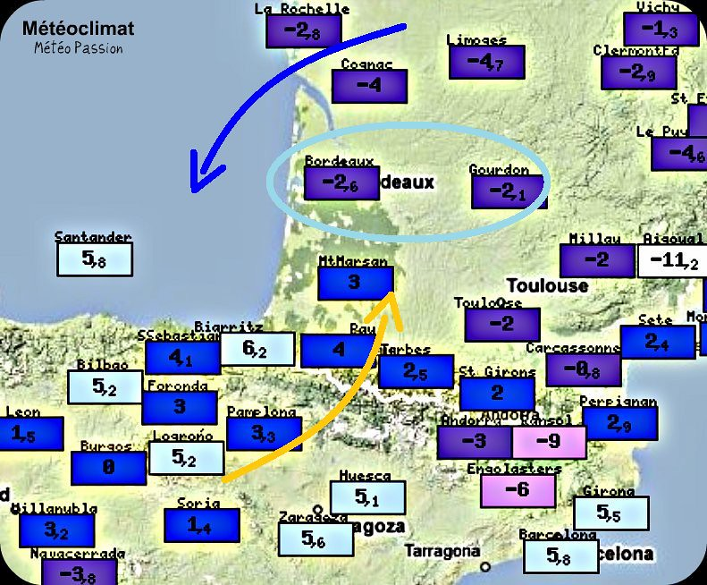 températures maximales et amplitude thermique du 20 février 1956, lors d'abondantes chutes de neige en Aquitaine météopassion