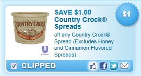 Country Crock Spread (excludes Honey And Cinnamon Flavored Spreads) Coupon