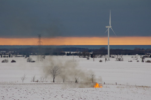 winter sunset sky ontario windmill fire photo energy country hydro