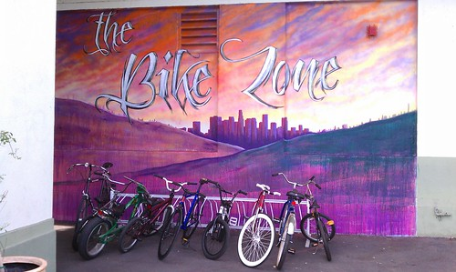 """The Bike Zone"" mural at Nightingale Middle School in Cypress Park"