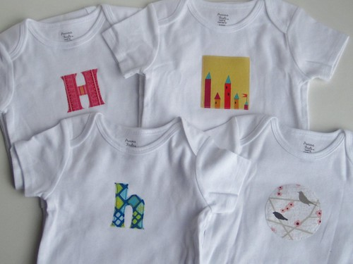 Applique onesies for Hannah