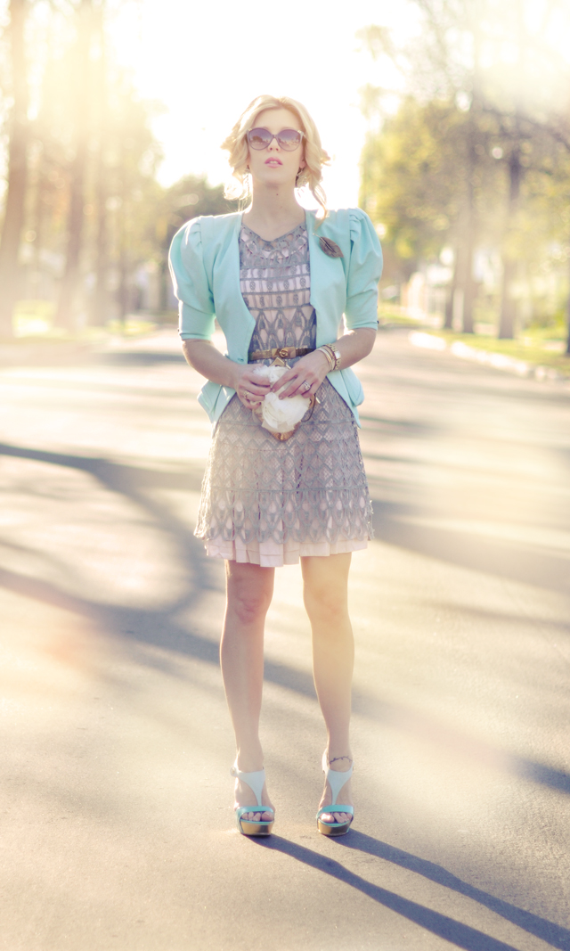 pretty pastel outfit -feminine -mint green-pale pink-gold and gray