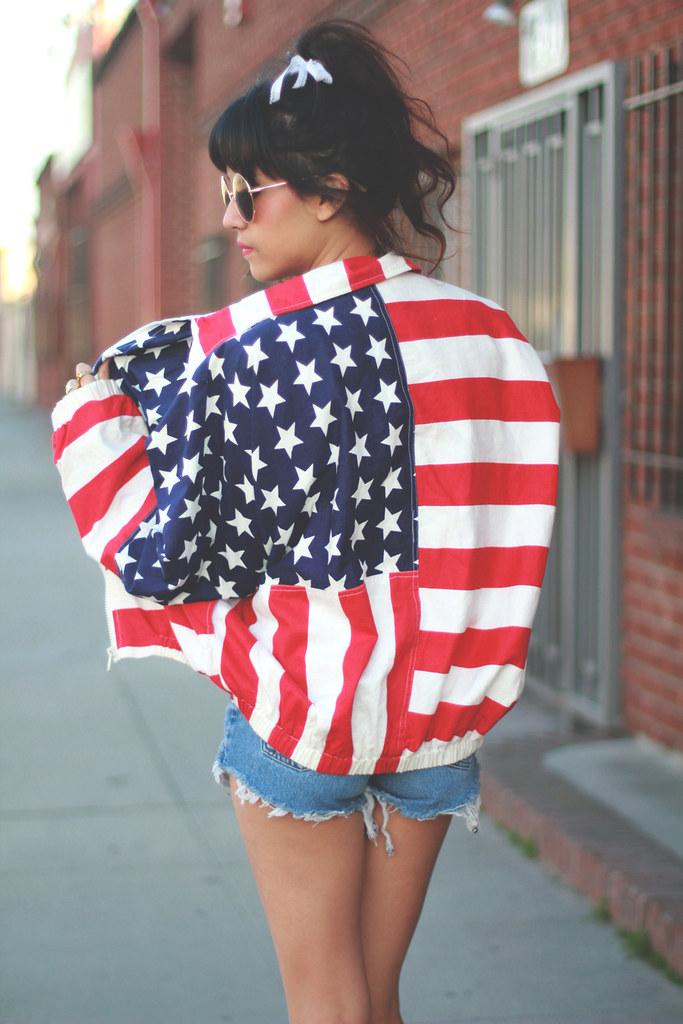 American Flag pring bomber jacket