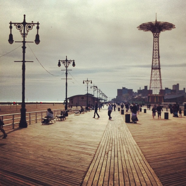 On the coney island boardwalk