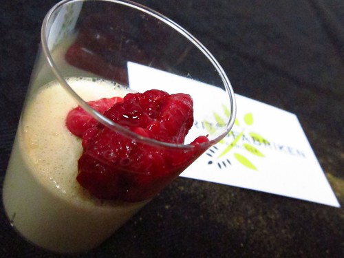 Licorice Panne cotta with a dollop of raspberries