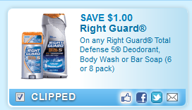 Right Guard Total Defense 5 Deodorant, Body Wash Or Bar Soap (6 Or 8 Pack)  Coupon