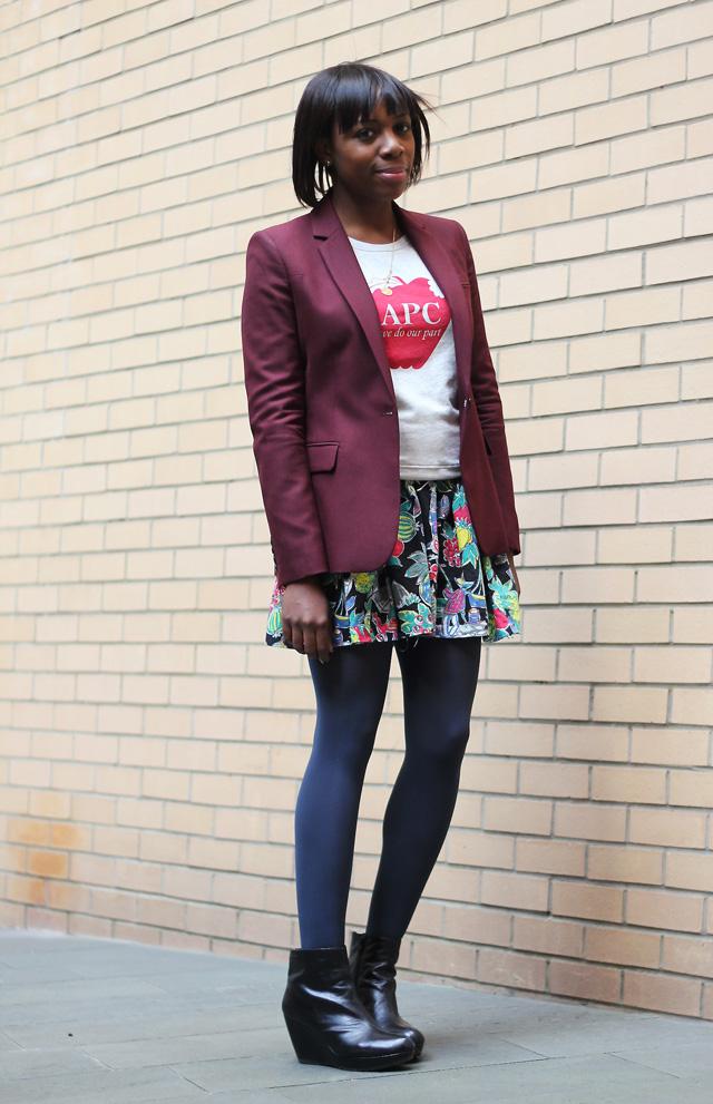 whistles blazer apc top vintage skirt vagabond boots