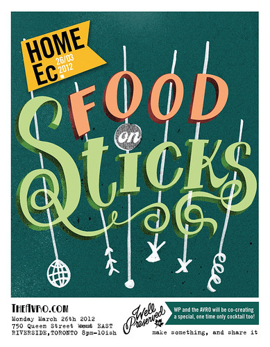 Reminder: Home Ec #3: Food On Sticks (March 26) and a New Poster