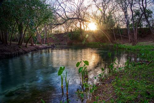 sunset water reflections texas hillcountry newbraunfels comalriver cypresstrees princesolmspark