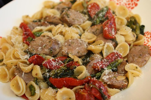 Orecchiette with Broccoli Rabe, Sweet Italian Sausage, an Oven Roasted Tomatoes with Bella Lodi