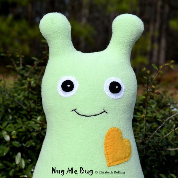 Mint Green Fleece Hug Me Bug, original art toy by Elizabeth Ruffing