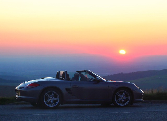 Sports Car Porsche Boxster And Sunset Peak District