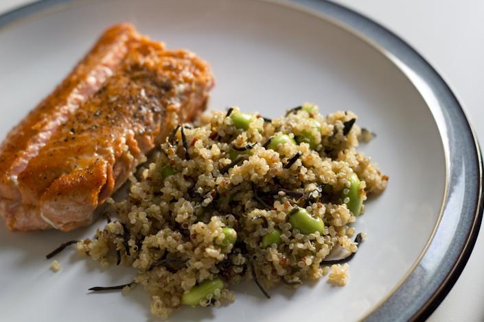 Salmon. Quinoa and Edamame Salad.