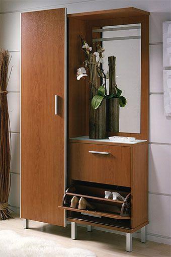 Elegante y pr ctico mueble auxiliar con espejo ropero y for Zapatero entrada casa