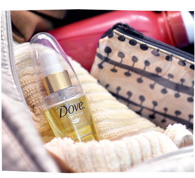 Dove Nutri-Oil Serum in Gym Bag