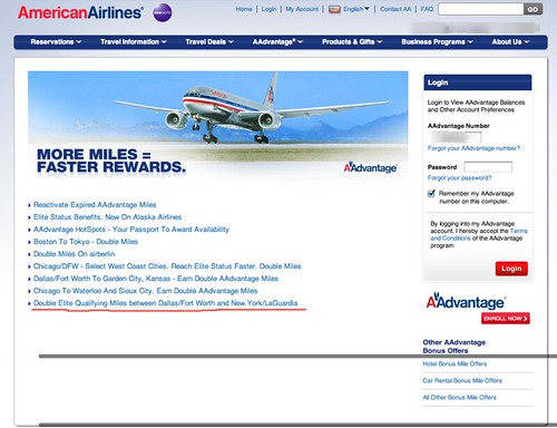 DFW to LGA - American Airline Double Elite Miles