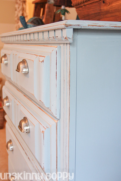 distressed blue dresser diy