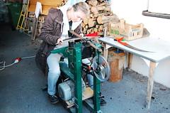 Christiane peening with Triplex machine, Austria