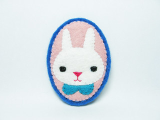 When I was a little rabbit boy felt brooch