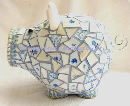 Blue Mosaic Piggy Bank