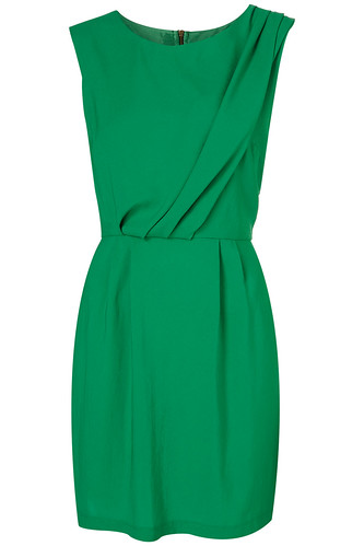 Tuck Neck Shift Dress Green