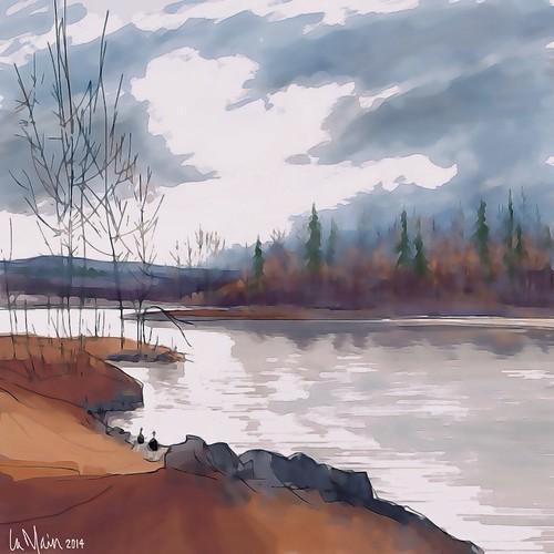 trees water landscape ipad brushesapp icolorama