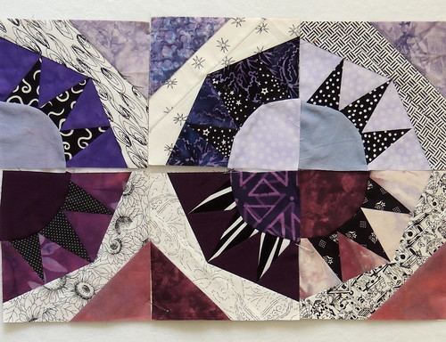 Six Scrappy Purple Briarpatch Blocks