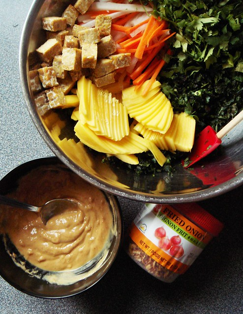 Kale Tempeh Green Mango Salad