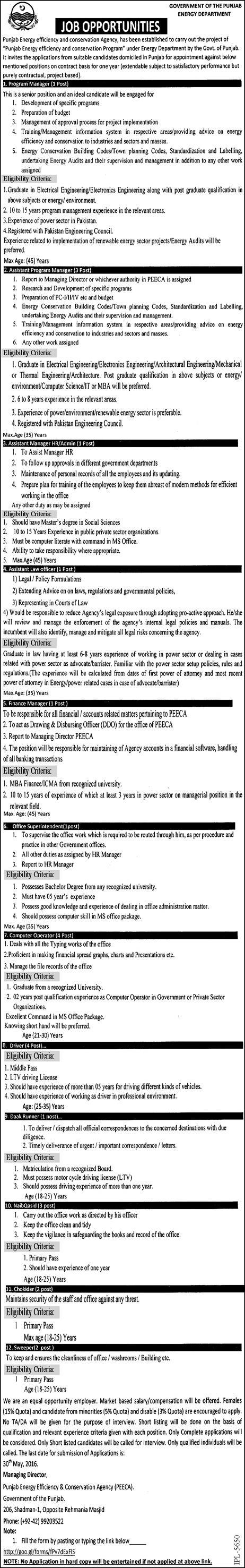 Government of Punjab Energy Department Jobs