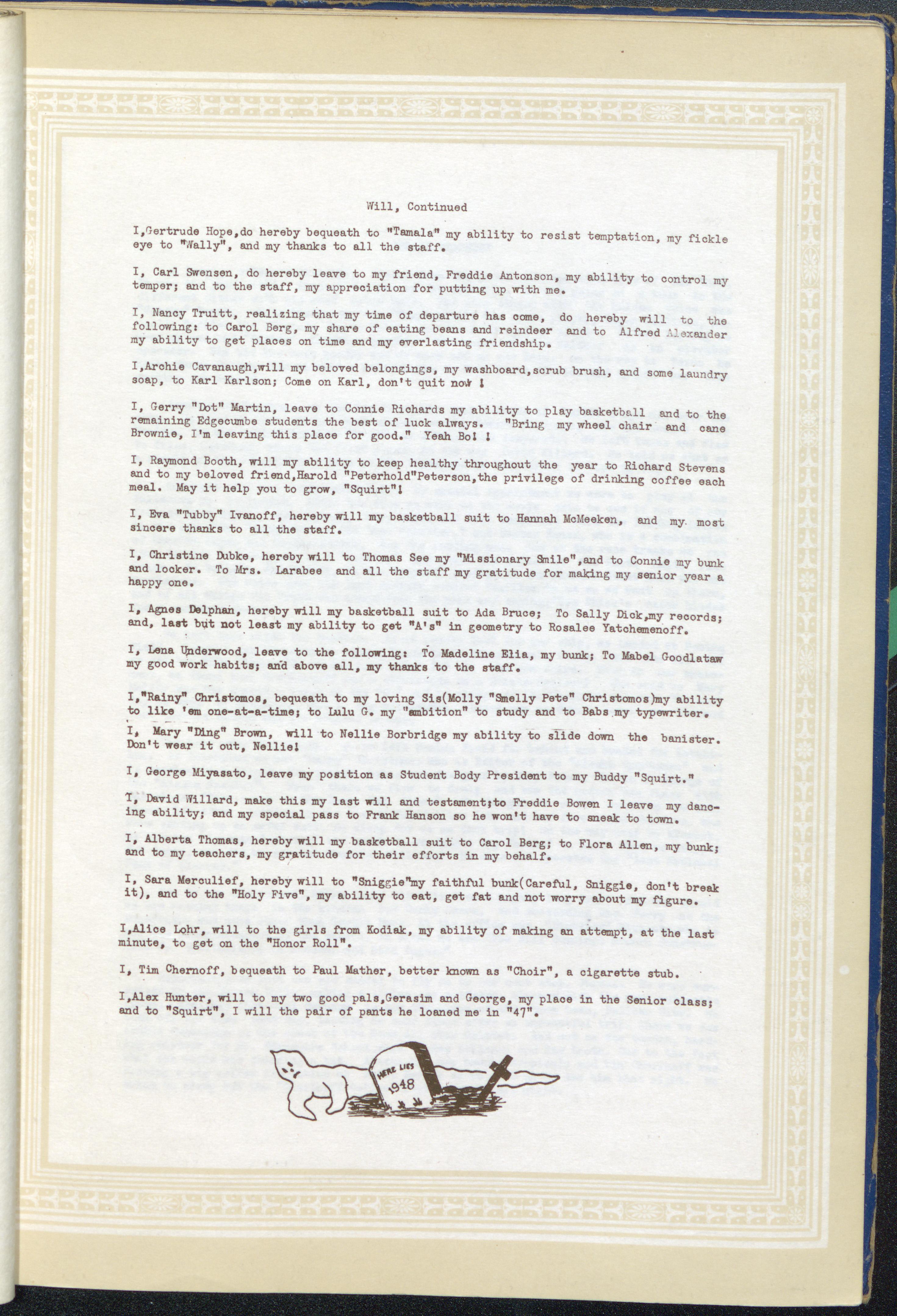 Taheta 1947-1948. Page 33.