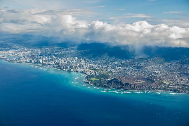 Oahu Hawaii from Hawaiian Airlines Flight to LA