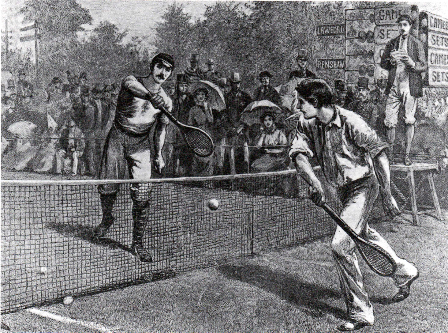 William Renshaw and Herbert Lawford, playing a match at the Wimbledon Championships in the 1880s