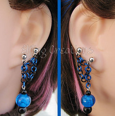 Blue and Black Double Lobe Chain Earrings