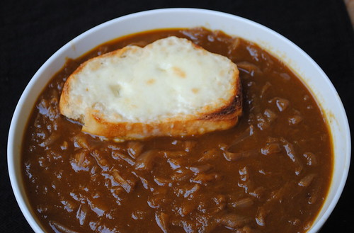 Caramelized Balsamic-Red Onion Soup with Cheese-Topped Croutons