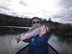 Wendy enjoys another fine winter run Klamath Steelhead