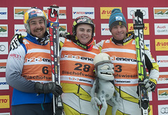 Tristan Tafel and Chris Del Bosco finish first and third, respectively, at the first ski cross race in Bischofswiesen/Goetschen, Germany.