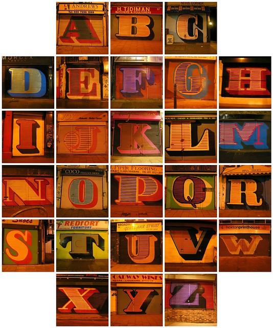 A Complete Alphabet of Eine's Shopfront Shutter Graffiti