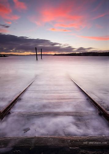 sunset newzealand auckland wharf nz onehunga