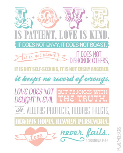 1 Corinthians 13:4-8 printable from falala designs