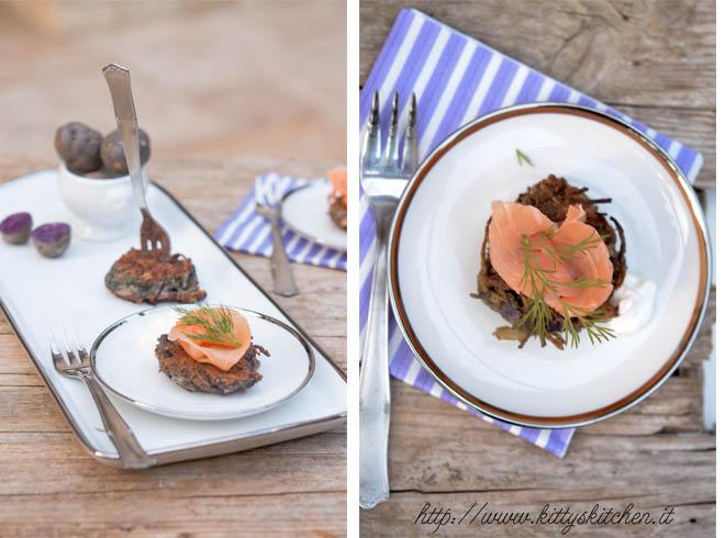 latkes di patate viola e salmone