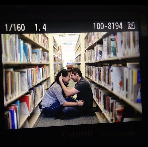 Engagement shoot in library