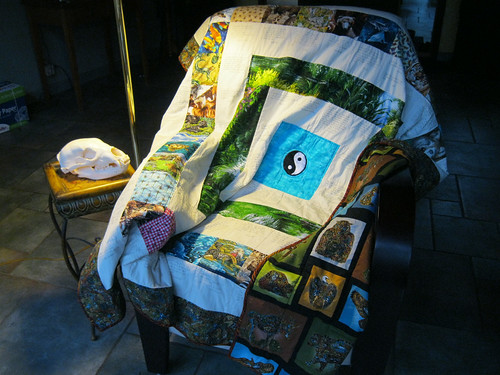 Quilt meditation chair and bear skull