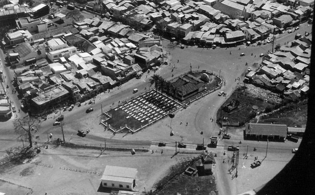Aerial photograph of a cemetery at the Tan Son Nhut Main Gate entrance, 1966.