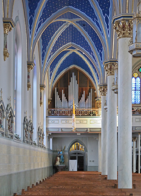 Saint Peter Roman Catholic Church, in Jefferson City, Missouri, USA - view down side aisle