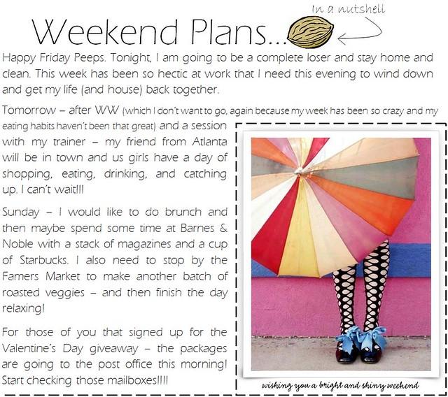weekend plans 2.9.12