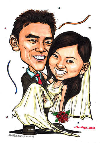 wedding couple caricatures 08112011